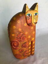 New listing Vintage Laurel Burch 11� Cat Sculpture Signed - Large & Heavy - 1999