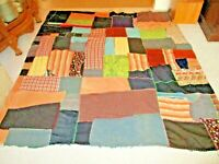 "Vintage Camp Style Comforter Crazy Patchwork Quilt 78"" x 72""-Hand Made AS IS"