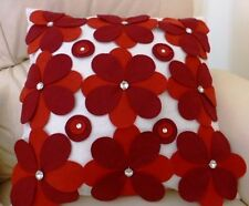 One Duck Two Gerbera cushion cover with red felt applique flowers 45 x 45