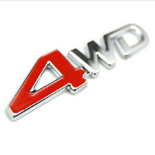 Car Truck 3D 4WD Emblem Badge Metal Chrome Sticker Decal Red+Silver Accessories