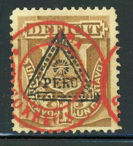 PERU MNG: Scott #J27 1c TRIANGLE + LIMA-CORREOS RED (1884) Postage Due CV$42+