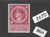 #2670    MH Adolph Hitler stamp / 1944 Birthday Third Reich issue / WWII Germany