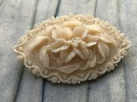 Vintage Celluloid Brooch Cream White Floral Flower Carved Pin Costume Jewellery
