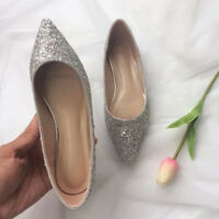 Women Pointed Toe Sequins Slip On Pumps Flat Casual Wedding Bridal Bling Shoes