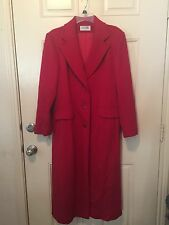Vintage G.HOOK WOMENS RED WOOL/CASHMERE LONG DRESS COAT