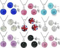 SHAMBALLA MATCHING NECKLACE+EARRINGS SET CZECH CRYSTALS WEDDING SETS - UK STOCK