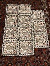 "11 Gien France ""Cachemire"" 5 3/4 Inch Square Plates Wine Bottle Coaster Paisley"