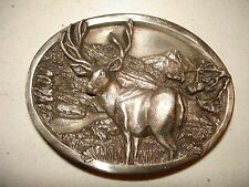 Solid Brass Bergamot Brass Works Inc Belt Buckle-Majestic Buck Scene! Nice EC!