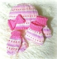 Baby DK knitting pattern instructions girls fairisle hat booties mittens ppink