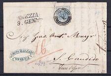 1850 LOMBARDO VENETO LETTERA CON ANNULLO MUTO DI VENEZIA AFFRANCATA CON 45 CENT