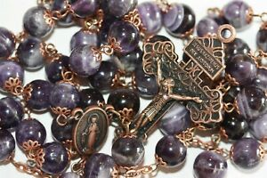 10mm Non-Faceted Amethyst Rosary in Copper with Pardon Crucifix made in Oklahoma