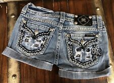 DISTRESSED JEWEL BUCKLE MISS ME JEAN SHORTS 25 W14/L3.5/R7.5 STRETCHY EUC CUTE