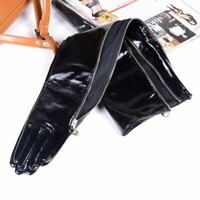 40cm-70cm Women's Real Patent leather Shiny Black Zipper evening long Gloves
