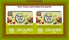 PURE VIA Stevia Sweetener Packets, Sugar Substitute, Natural Sweetener,1600 CT