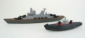 Vintage TootsieToy Battleship and Submarine Lot of 2