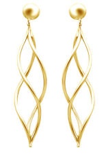 Fancy Halo Twisted Tube Dangle Post Earrings 18K Yellow Gold Over Sterling 925