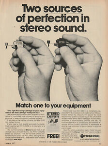 Pickering -XSV/3000/XV-15 625E Phono Cartridge - Original Magazine AD - 1977
