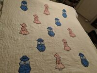 "Vintage Child's Quilt 58 x 50"" with Sunbonnet Sue and Boy"