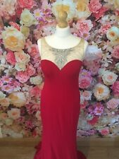 Gino Cerruti Long Scarlet Red Silver Beaded Prom Evening Gown Dress Size 10