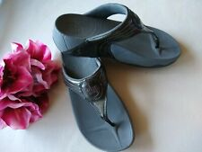 Fit Flop Toe-Thong Sandals Shoes Dark Shimmer Gray Sz.US5 EU36