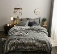 3D Horizontal Black ZHUA974 Bed Pillowcases Quilt Duvet Cover Set Queen King Zoe