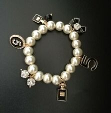 Trendy Designer #5 Style Pearl Bracelet  With Charms