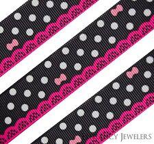 "High Quality 7/8"" Elegant Polka Dot Printed Grosgrain Ribbon ~ Sold By The Yard"