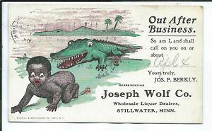 Stillwater MN Minnesota Postcard Black Americana Advertsing Wholesale Liquors