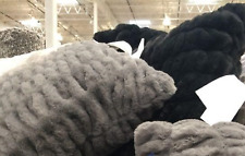 (2) Faux Fur Ruched BLACK Pillows 24'' x 24'' #1298764 UPC:47218294647 Brand New