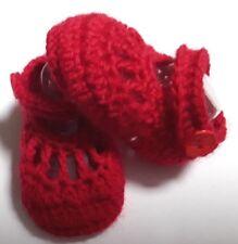 Crochet newborn/reborn baby strap red booties/shoe: size 0000 (7 cm) UNISEX