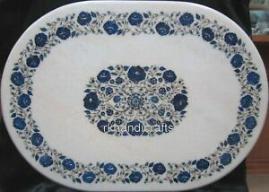 30 x 42 Inches Oval Marble Dining Table Top Lapis Lazuli Stone Art Coffee Table