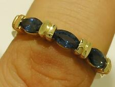R223- LOVELY 9ct Solid Gold NATURAL Sapphire Eternity Triology  Ring size O