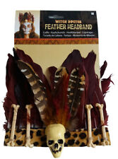 Witch Doctor Feather Skull Bones Tribal Headband Fancy Dress Costume Halloween