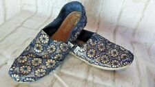 Size 7 Wide TOMS Navy Blue Embroidered GOLD GLITTER Lace Slip On FLAT Shoes