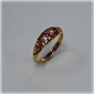Vintage 18ct Gold Ruby & Diamond Ring, Chester 1912 hallmark