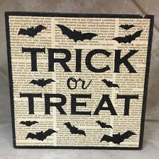 Halloween Black Square Wooden Sign Trick Or Treat Bats Glitter NEW