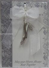 Wedding Treasure Favour Silver Tone Diamonte Shoe, Beads & White Ribbon BNIP