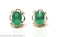 9ct Gold Emerald Studs earrings Gift Boxed Made in UK Christmas Gift