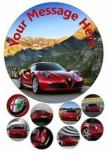 Alfa Romeo Personalised Birthday Iced Cake Topper + 8 Cupcake Fairy Toppers
