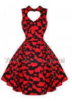 H&R LONDON BLACK RED HEARTS PINUP SWING 1950's  DRESS VINTAGE ROCKABILLY 6904