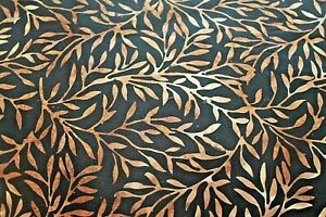 Tan Branches on Black Batik Cotton Quilt Fabric BTY 44 Inches wide BTY