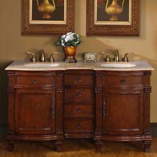 "Silkroad Exclusive 60"" Double Sink Cabinet Bathroom Vanity Hyp-0722-T-Uic-60"