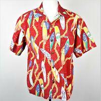Murf Wear Red Hawaiian Aloha Shirt Mens Large Flowers Colorful Surfboards