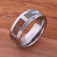 Koa Wood Abalone Tungsten Ring Wedding Ring Mens Ring Block 8mm TUR4026