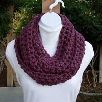 Purple INFINITY SCARF LOOP COWL Fig Eggplant Handmade Crochet Wool Blend Winter