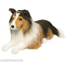 "Douglas LASSIE Collie Dog 22"" Plush Lying Down Stuffed Animal Cuddle Toy NEW"