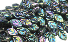 25 Green Iris Czech Glass Leaf Beads Side Drilled 12MM