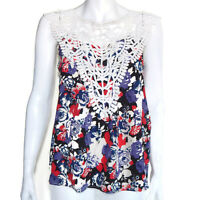 Yumi Kim Silk Blouse White Eyelet Embroidery Red Blue Floral Boho Summer Top - S