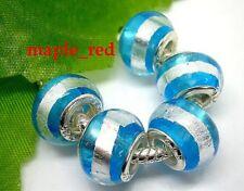 Fashion Round Foil Blue European Style Lampwork Glass Beads fit Charm Bracelet