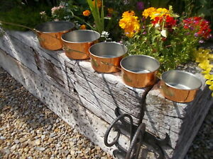 Lovely Set 5 Lined French Vintage Copper Pans YR1/22